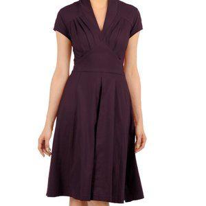 eShakti Feminine Pleated Cotton Knit Purple Dress